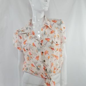 Truth NYC Sheer floral BIRD tie up blouse L